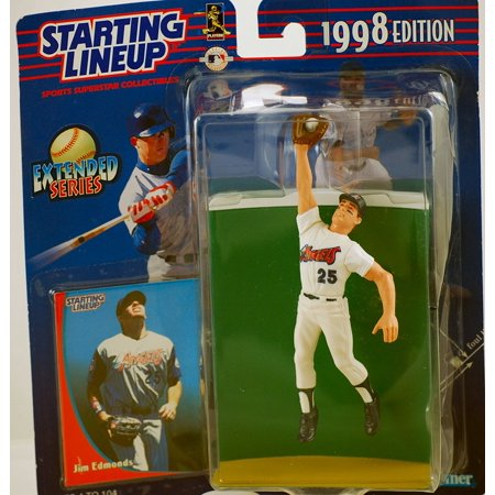 1998 - Kenner - - Extended Series - MLB - Jim Edmonds #25 - California Angels - Vintage Action Figure - w/ Trading Card - Limited Edition - Collectible,.., By Starting Lineup Ship from US 1988 Starting Lineup Cards