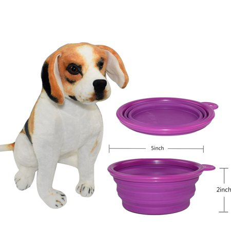 Paperflower Collapsible Travel Silicone Dog Bowl Set Of 2 Portable Pet Bowls Puppy Feeder Foldable Travel Bowls For Feed   Water On Camping Journeys  Hiking  Doghouses And Hunting