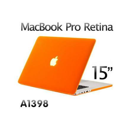 (3in1 Orange Rubberized Hard Case Laptop Shell & Keyboard Skin & Screen Cover for Apple Macbook Pro Retina 15 15.4
