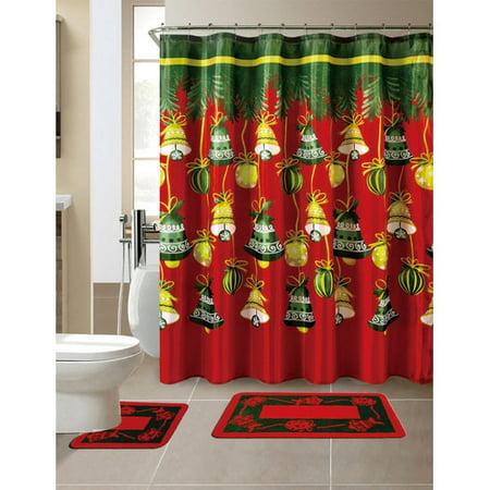 Daniels Bath 15 Piece Christmas Shower Curtain Set