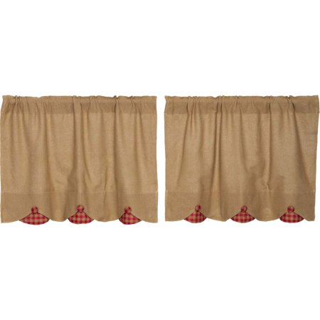 Natural Red Tan Farmhouse Kitchen Curtains Burlap Check Rod Pocket Cotton Ons 24x36 Tier Pair