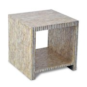 Crafted Home 's Aiden Cube Side Table in Gold and White