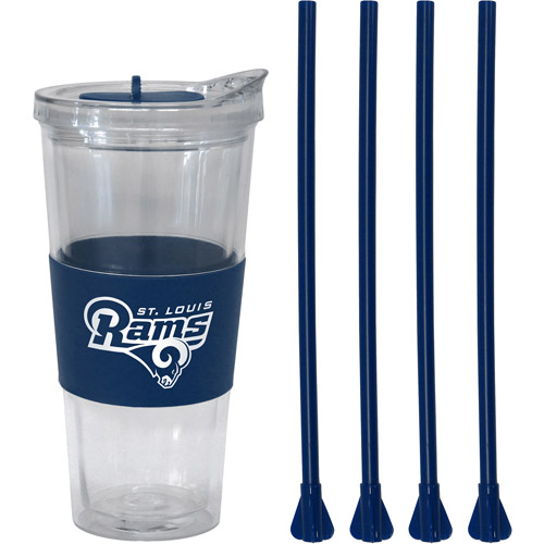22oz NFL Saint Louis Rams Straw Tumbler with 4 Colored Replacement Propeller Straws