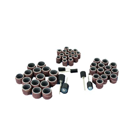 TEMO 51 pc Mixed Size 1/4 inch (6mm) 3/8 inch (9mm) 1/2 inch (13mm) Sand Drum 60 Grit Coarse with 1/8 inch (3mm) Mandrels for Dremel and Compatible Rotary tool