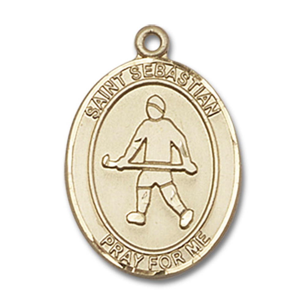 14kt Yellow Gold St. Sebastian Field Hockey Medal 3 4 x 1 2 inches by