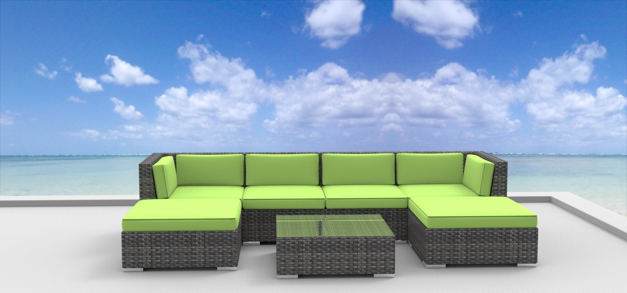Urban Furnishing   MAUI 7pc Modern Outdoor Wicker Patio Furniture Modular  Sofa Sectional Set, Fully Assembled   Lime Green   Walmart.com