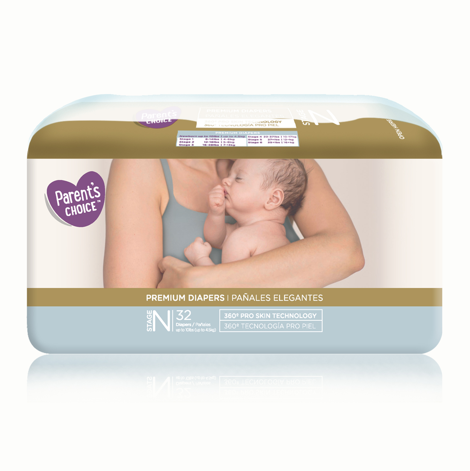 Parent's Choice Premium Diapers, Newborn, 32 Diapers