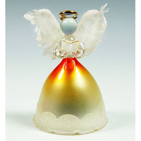 Lighted Angel Figurines - LED Glass Angel Statue with Real Feather Wings and Holding a Hymnal Book - Christmas Angels](White Feather Angel)