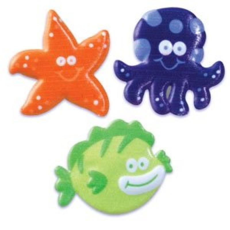 24 pc - Sea Animal Rubber Cupcake Topper Rings