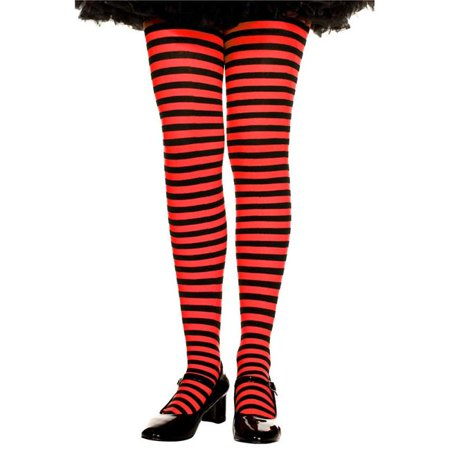 270-BLK-RED-M Girls Striped Tights, Black & Red - Medium for $<!---->