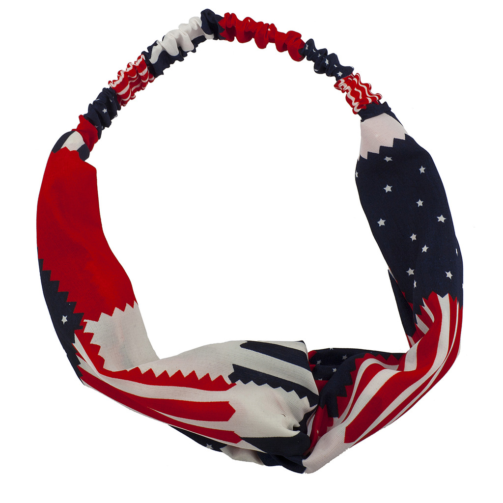 Lux Accessories July 4th Americana Knot Front Chiffon Printed Head wrap Headband