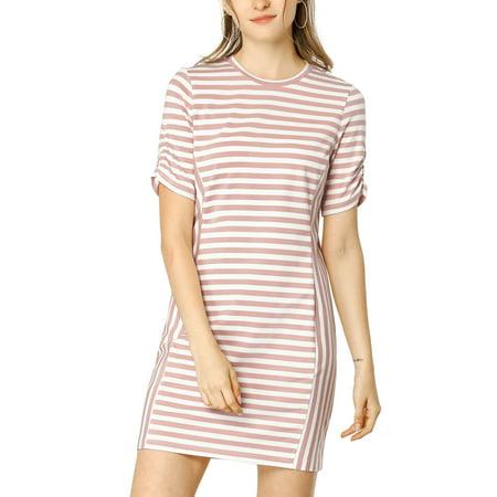 Allegra K Women's Crew Neck Short Sleeve Slim Fit Striped Shirt Dress
