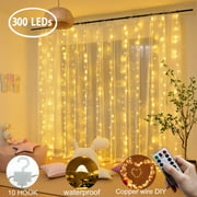 TSV Curtain String Lights,300LEDs 9.8x9.8Ft,USB Powered Fairy Lights,IP67 Waterproof & 8 Modes Twinkle Christmas Lights for Trees Bedroom Wedding Holiday Wall Decor
