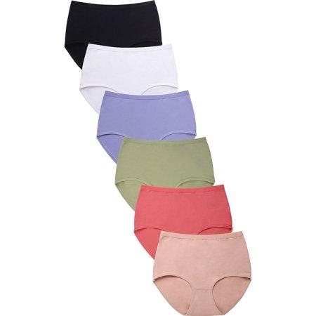 6 Pack of Womens Cotton Brief High-Rise Underwear Bikini Panties Rose Bikini Panty