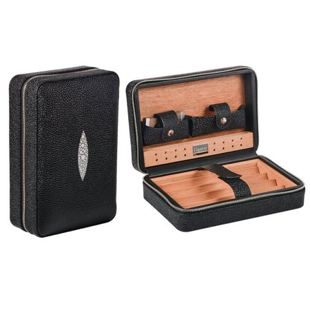 Travel Cigar Humidor, Volenx Leather Cigar Travel Humidor Case with Humidifier & Cutter, Wooden Cigar Box for 4 Cigars?Black? Black