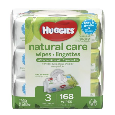 HUGGIES Natural Care Baby Wipes, Unscented, 3 packs of 56, 168 Ct