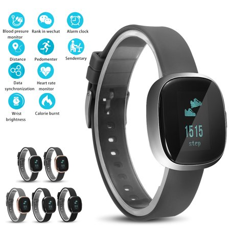 Waterproof bluetooth Smart Watch Wristband Bracelet Sports Health Fitness Tracker Pedometer with Blood Pressure Heart heartratemonitor Rate for IOS Android phone Specifications:Dimension: 13.8x14.2x3.9 inchesColour: Silver-black; Gold-black; Black; Gun-black; Gold-grey; Silver-greyWatchband material: Organic silicon rubberCharging Voltage: 5VBattery: Chargeable li-s polymer secondary batteriesSensor: Dynamic pickupPackage Included:1x Smart watch1x Charger cable1x User manual1x Standard packing boxItem Descriptions:    Sport Blood Pressure: Includes a smart blood pressure monitor that tracks pressure in real time. Intelligent blood pressure testNot for medical use).    24 hours of real-time monitoring; Analysis of heart rate changes, it will be quickly recalled when finding abnormalities    Fitness Tracker:Does everything youd expect in a fitness tracker. Steps,distance and calories burned and more can be viewed on the 0.95 inch OLED watch screen.    Multifunctional Wristband: Time, Date, Pedometer , Caller ID / names display-Never miss any call, message content display: SMS / QQ / wechat; Sleeping Monitor- Tracks how long and how well you sleep . Just a simple but powerful pedometer bracelet    IP67 Waterproof: P2 smart bracelet is not afraid of washing hands/ walking under rain, it can be weared to swimming or shower. Built-in 150mAh Battery, long working time. Please refer the User Manual before use.   Adjustable wrist strap.The wristband is adjustable, you can adjust it to fit your wrist.