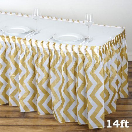 Balsacircle 2 Pcs 14 Feet X 29 Inch Plastic Chevron Banquet Table Skirt Wedding Party Trade Show Booth Events Decorations