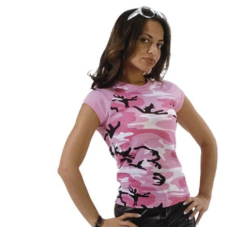New Pink Camo - Women's Pink Camo Short Sleeve Raglan T-Shirt