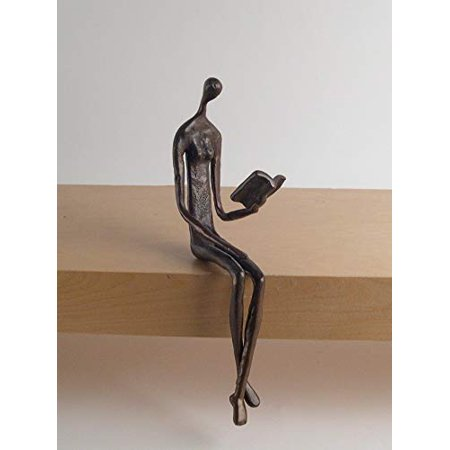 Danya B. ZD8354 Contemporary Home and Office Décor - Bronze Sculpture of Woman Reading Book on a Ledge - image 2 de 2