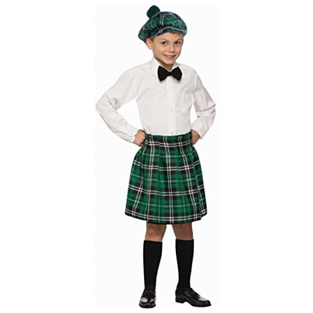 Traditional Scottish Boys' Kilt, Green Plaid, One Size