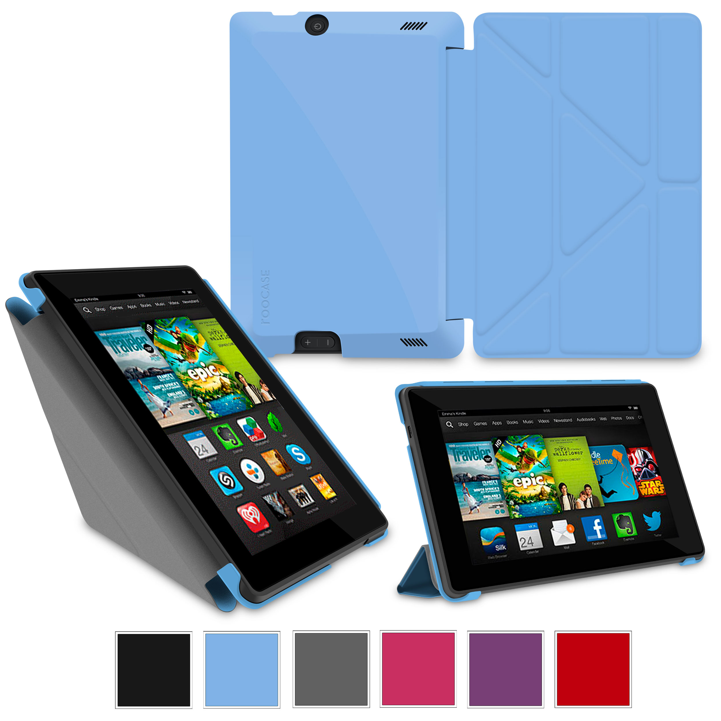 "rooCASE Amazon Kindle Fire HD 7 Case - (2013 Previous Generation) Origami Slim Shell 7-Inch 7"" Cover with Landscape, Portrait, Typing Stand - BLUE"