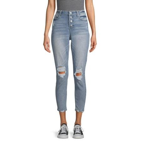 No Boundaries Juniors' Authentic Destructed Skinny Jeans 7 Jeans Womens Juniors Pants