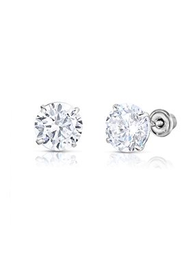14k White Gold Solitaire Round Cubic Zirconia CZ Stud Earrings in Secure Screw-backs (6mm)