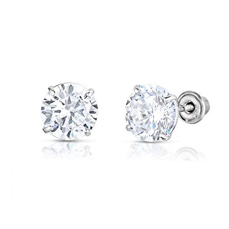 14k White Gold Solitaire Round Cubic Zirconia CZ Stud Earrings in Secure Screw-backs (6mm) Zirconia 6mm Round Earrings
