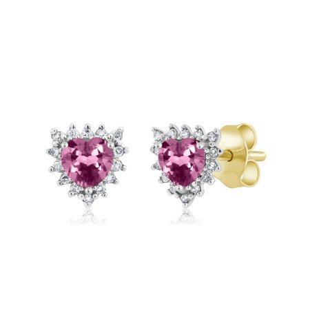(18K Two Tone Gold 0.42 Ct Heart 4mm Pink Tourmaline & Diamond Stud Earrings)