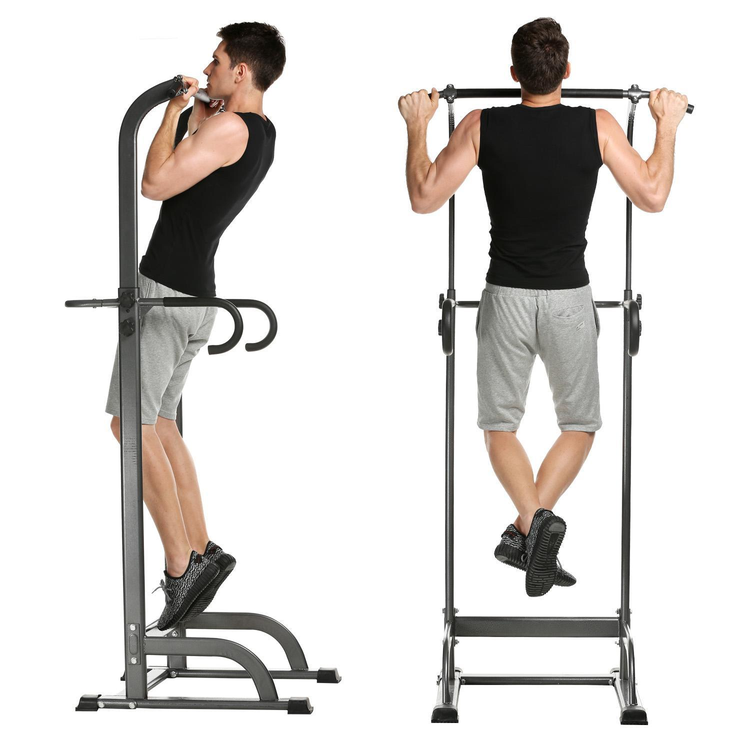 Adjust Height Fitness Power Tower, Strength Training Fitness Equipment Workout Dip Station for Home Gym