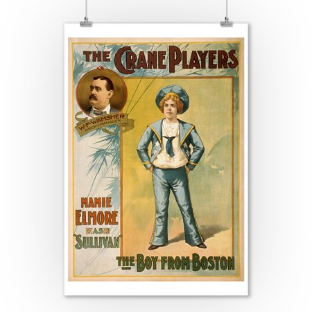 - The Crane Players, The Boy from Boston Theatre Poster (9x12 Art Print, Wall Decor Travel Poster)