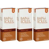 3 Pack Bain De Soleil Mega Tan SPF 4 with Self Tanner 4oz Each