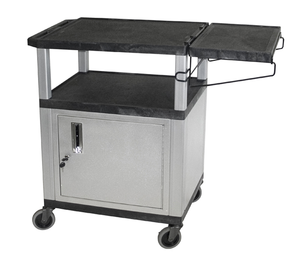 H WILSON WT34CCBR Utility Cart with Side Shelf and Gray Cabinet, Black
