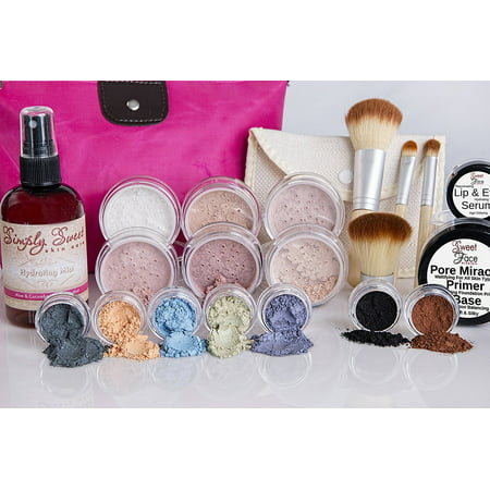 IMPULSE KIT Full Size Mineral Makeup Set Matte Foundation Bare Face Sheer Powder Cover (Warm-neutral/most popular)