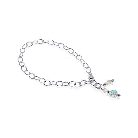 Gem Avenue Sterling Silver Crystal Anklet Swarovski Elements