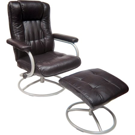 mainstays swivel recliner with ottoman brown