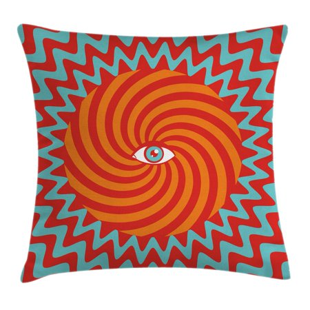Vintage Decor Throw Pillow Cushion Cover, Inner Eye in Centre of Spiral Lines with Concentric Circle Pattern Hypnotic Art, Decorative Square Accent Pillow Case, 20 X 20 Inches, Multi, by Ambesonne
