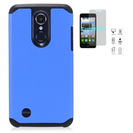 AT&T Prepaid LG Phoenix 4 Case, LG Rebel 4 Case, Phone Case Straight Talk LG Rebel 4 Prepaid Smartphone, Hybrid Shockproof Slim Hard Cover Protective Case (Blue)