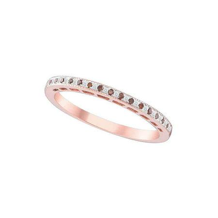 10kt Rose Gold Womens Round Red Color Enhanced Diamond Slender Band Ring 1/12 Cttw - image 1 de 1