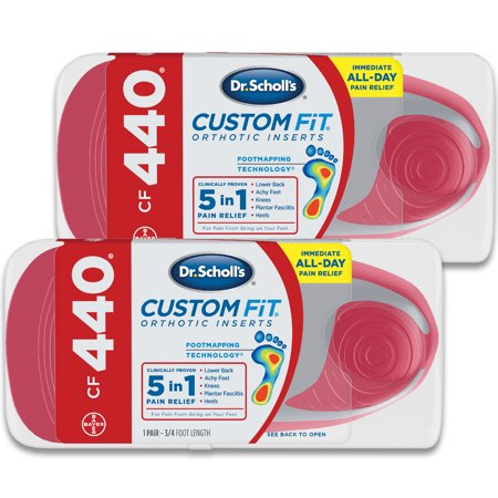 Dr. Scholl's Custom Fit CF440 Orthotic Shoe Inserts for Foot, Knee and Lower Back Relief, 2 Pair (Harness Inserts)