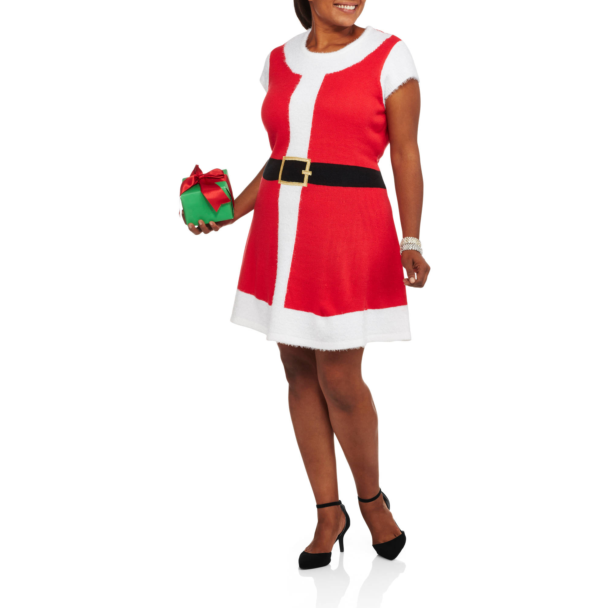 Holiday Time Women'S Plus Christmas Sweater Dress - Santa's Night Out