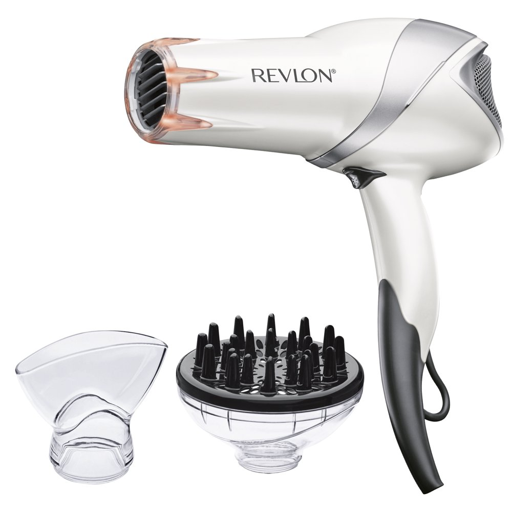 Revlon Pro Collection Infrared Tourmaline Ionic Hair Dryers, White with Concentrator and Diffuser