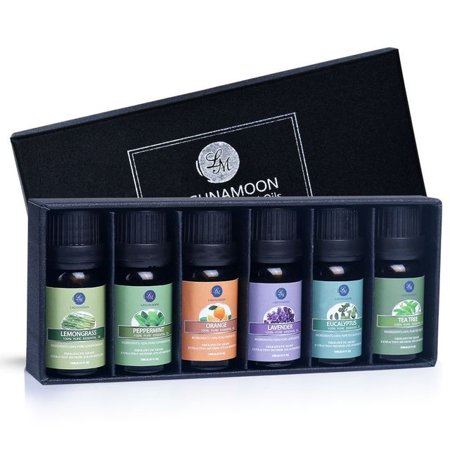 LAGUNAMOON™ Fragrance Essential Oils Gift Set,Top 6 Pure Aromatherapy Oils: Lavender, Tea Tree, Peppermint, Eucalyptus, Lemongrass,