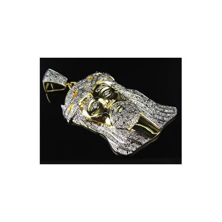 Large Genuine Diamond Jesus Piece Pendant In Yellow Gold Finish (1.0ct)