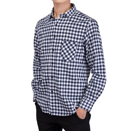 Men's Long Sleeve Plaid Shirts Casual Flannel Shirt Button Down Slim Fit Shirts For Men Outfit Workshirt Black/Red/Blue L-4XL ()