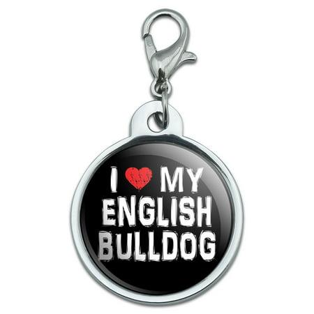 I Love My English Bulldog Stylish Small Metal ID Pet Dog Tag