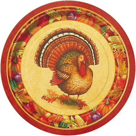Festive Turkey Thanksgiving Paper Plates, 9 in, 8ct for $<!---->