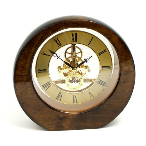 "Bey-Berk International ""Garni"" Clock, Piano Finish Walnut Wood with Skelton Movement, - Tarnish Proof"
