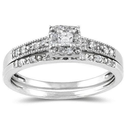 Szul Jewelry 10K White Gold Princess Cut Diamond Bridal Ring Set
